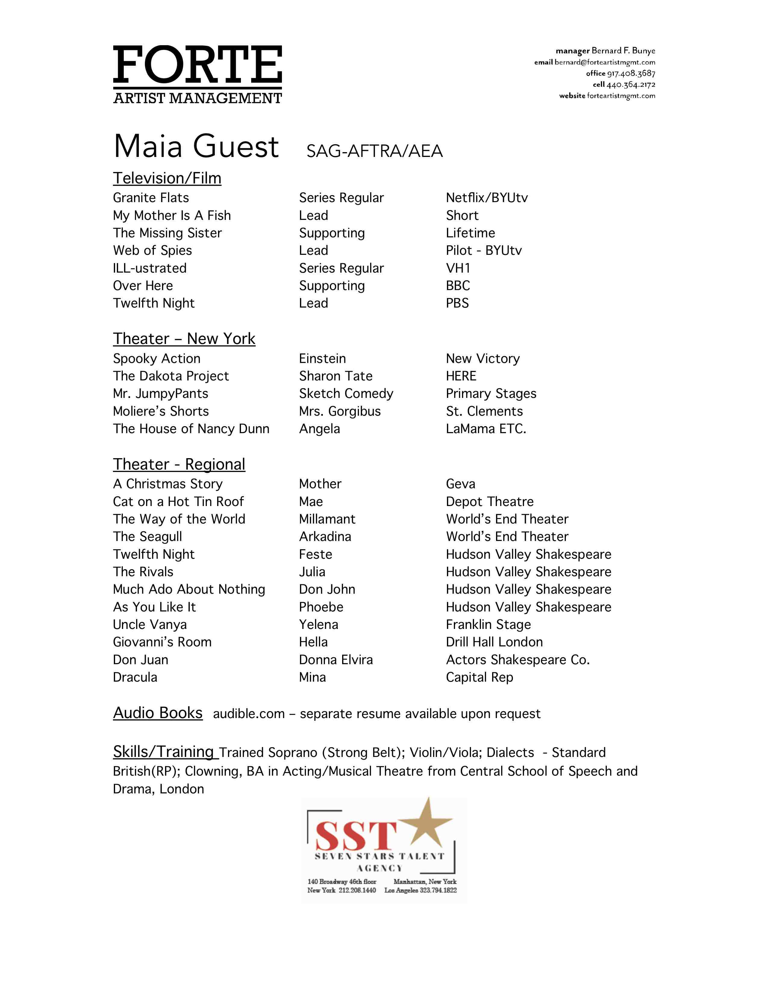 Maia Guest Resume